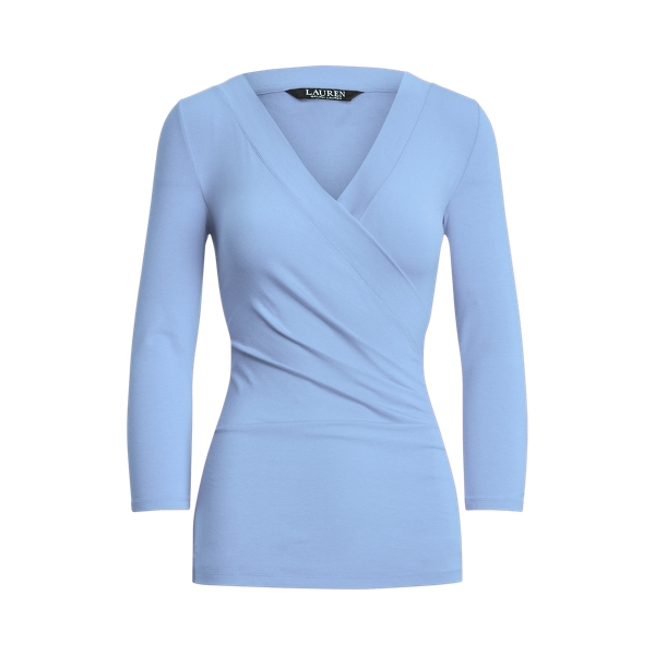 Lauren Wrap Style Jersey Top,Cabana Blue
