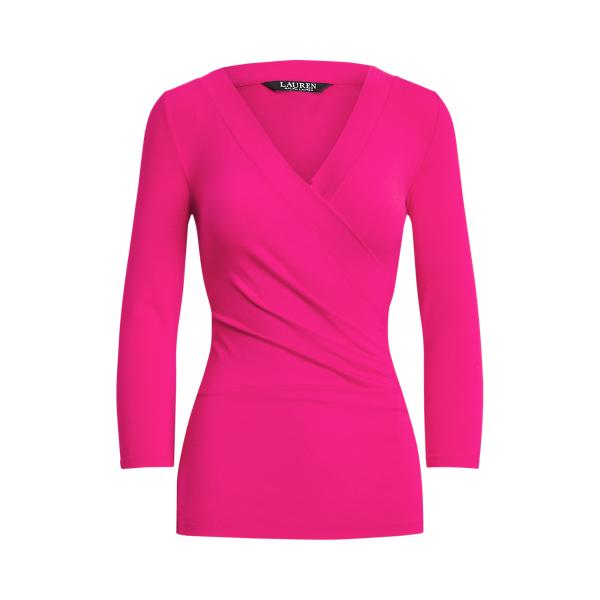 Lauren Wrap Style Jersey Top,Nouveau Bright Pink