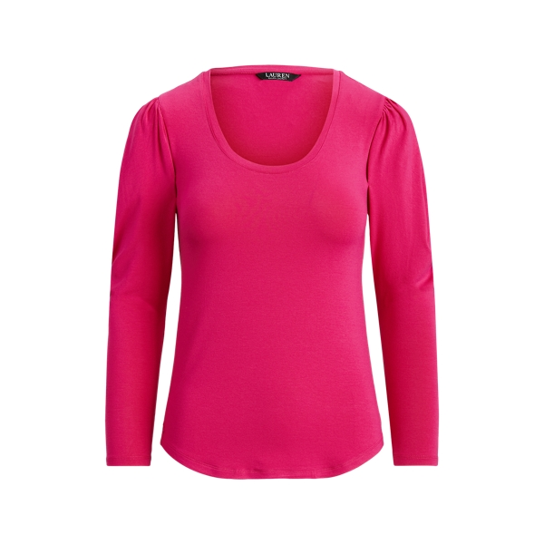 Lauren Stretch Jersey Long Sleeve Top,Nouveau Bright Pink