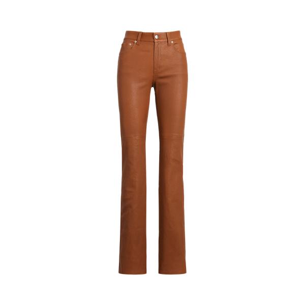 로렌 랄프로렌 팬츠 Polo Ralph Lauren High-Rise Straight Leather Pant,Cuoio