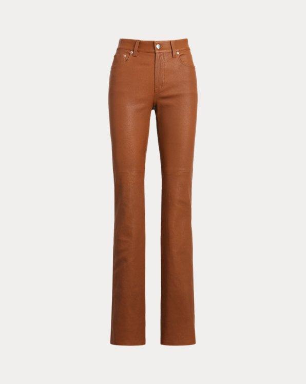 Pantalon droit taille haute en cuir