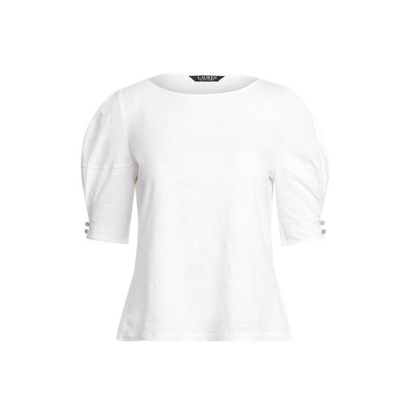 Lauren Slub Jersey Puff Sleeve Top,White