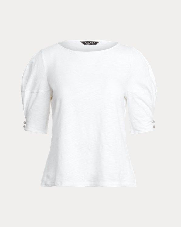 Slub Jersey Puff-Sleeve Top