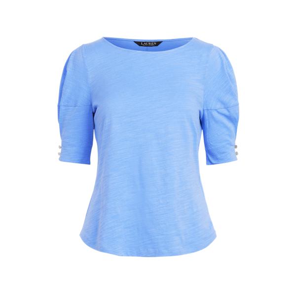 Lauren Slub Jersey Puff Sleeve Top,Cabana Blue