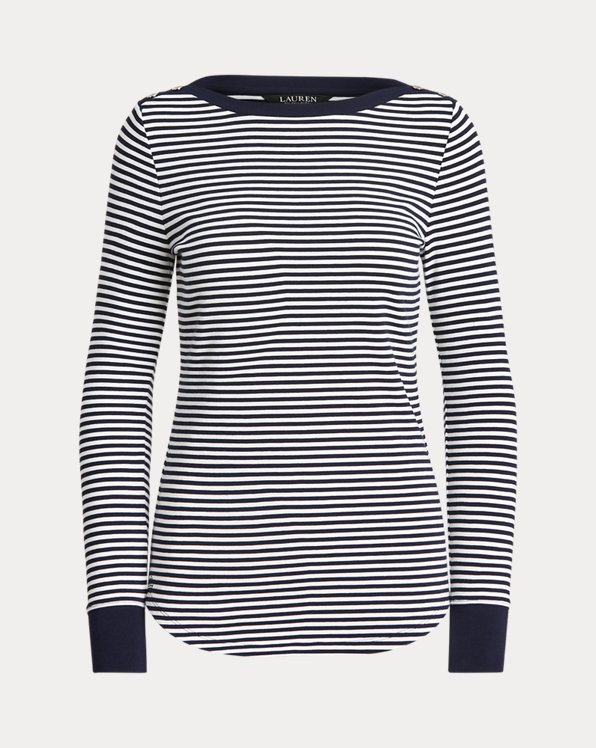 Striped Snap-Trim Drop-Needle Top