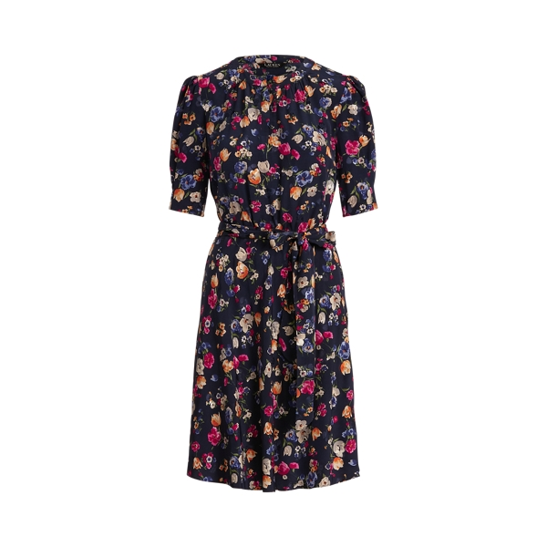 Lauren Floral Jacquard Dress,French Navy Multi