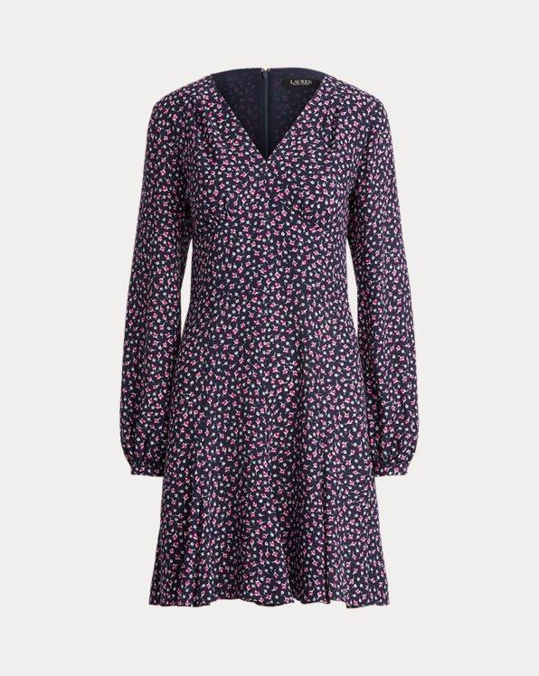 Floral Georgette Long-Sleeve Dress