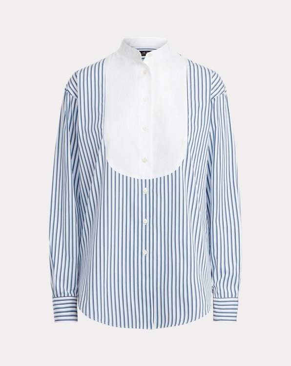 Striped Cotton Bib-Front Shirt