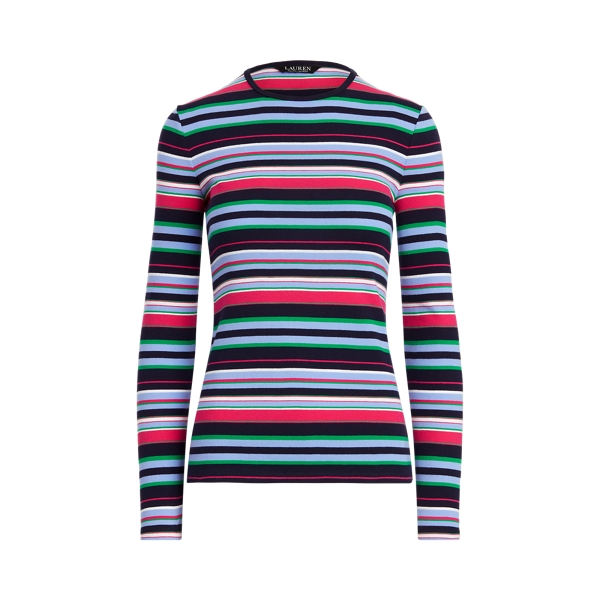 Lauren Striped Cotton Long Sleeve Top,French Navy Multi