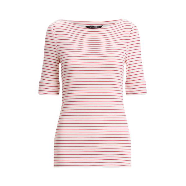Lauren Striped Cotton Blend Boatneck Top,White/Nouveau Bright Pink