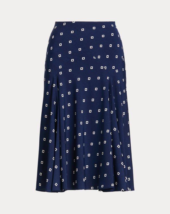 Print Crepe Peasant Skirt