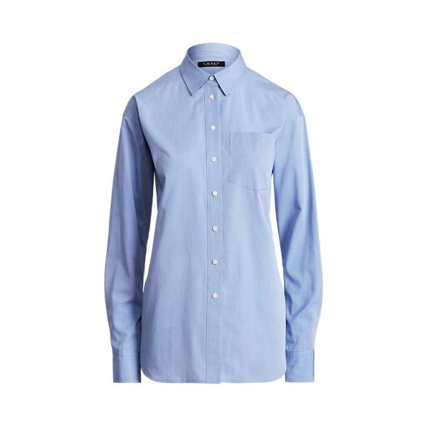 Lauren Striped Cotton Shirt,Blue/White Multi