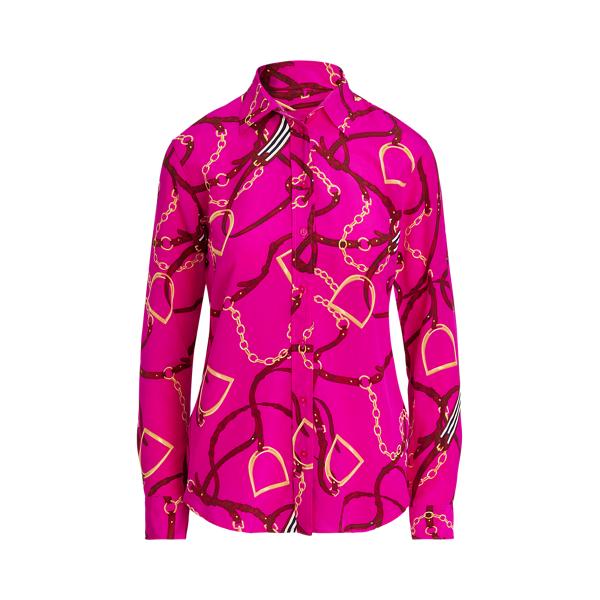 Lauren Print Silk Crepe Shirt,Bright Pink