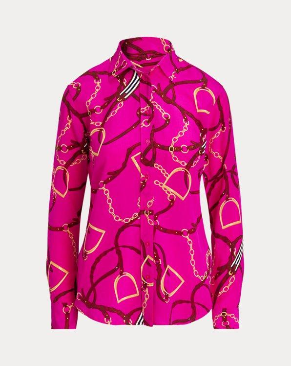 Chemise en crêpe de soie à motif