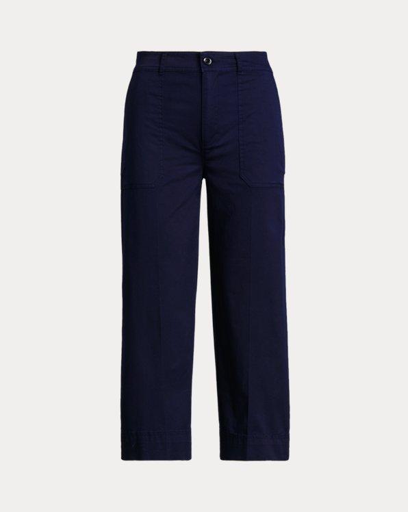 Cotton Twill Wide-Leg Trouser