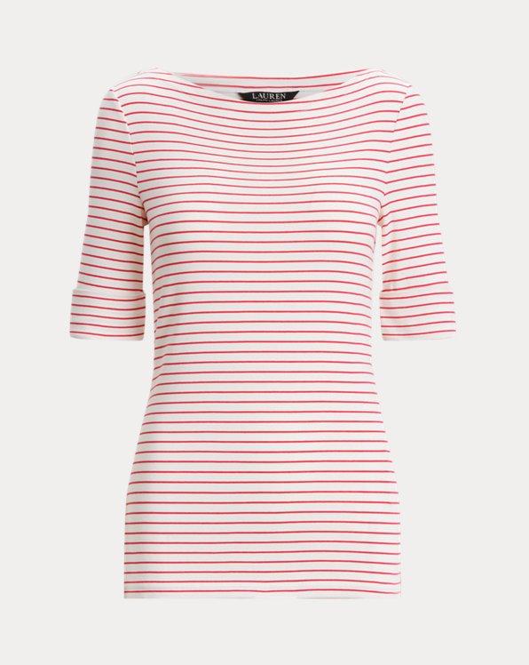 Striped Cotton-Blend Boatneck Top