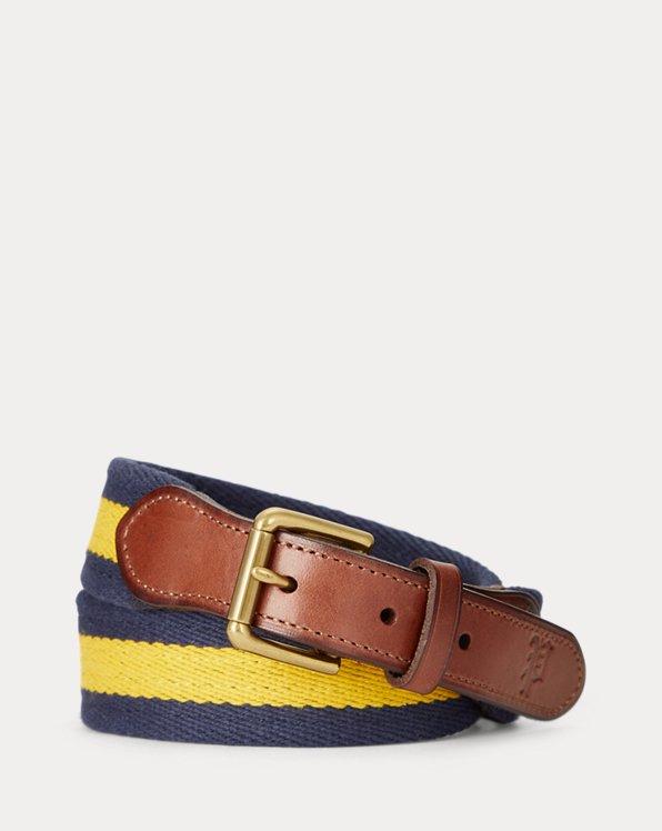 Striped Leather-Trim Cotton Belt