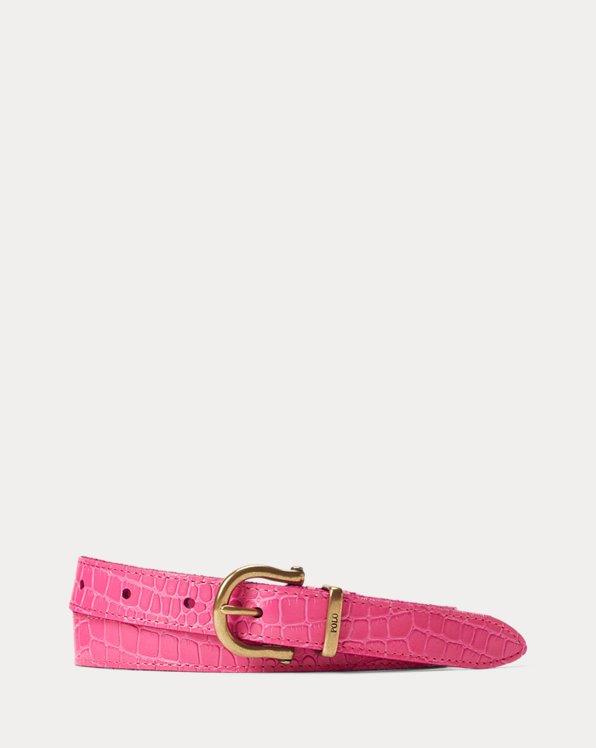 Skinny Crocodile-Embossed Leather Belt