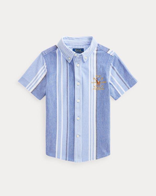Striped Cotton Knit Oxford Shirt