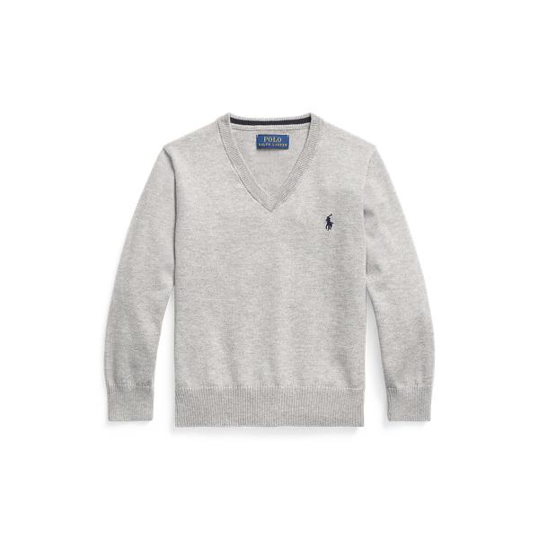 폴로 랄프로렌 Polo Ralph Lauren Cotton V Neck Sweater,Andover Heather