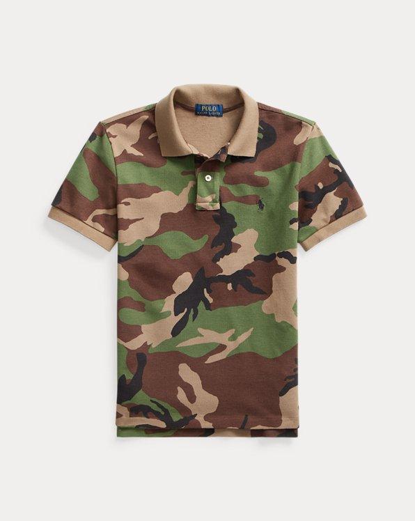 Slim Fit Camo Cotton Mesh Polo Shirt
