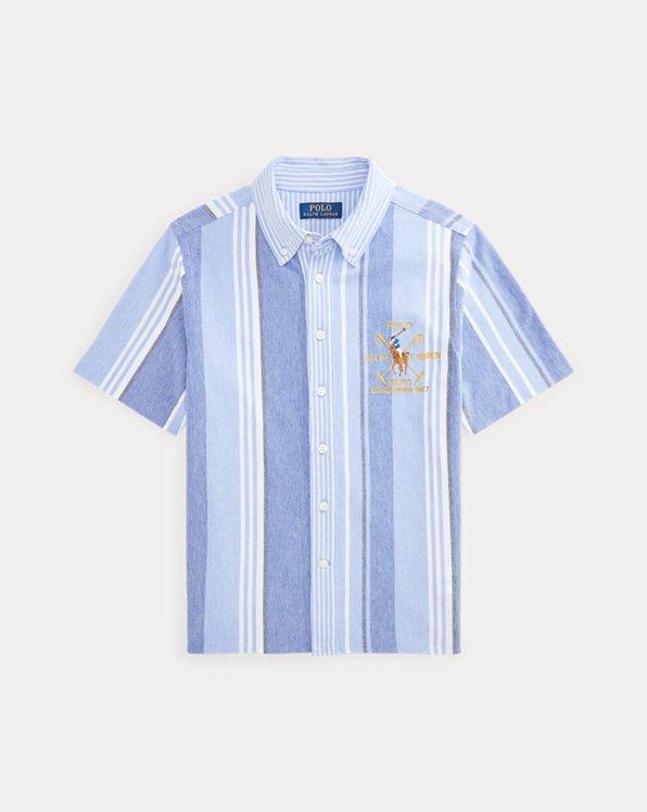 Striped Knit Cotton Oxford Shirt