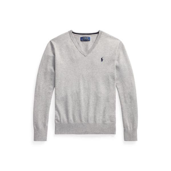 폴로 랄프로렌 보이즈 브이넥 스웨터 Polo Ralph Lauren Cotton V Neck Sweater,Andover Heather