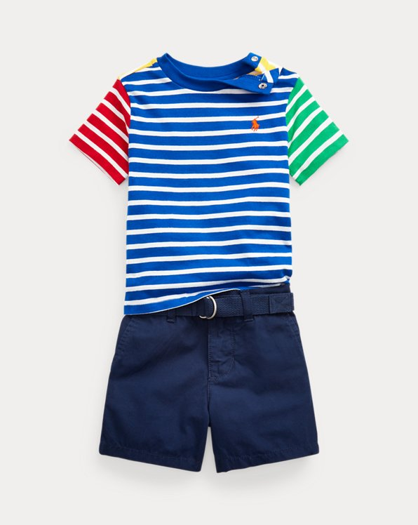 Striped Tee, Belt & Poplin Short Set