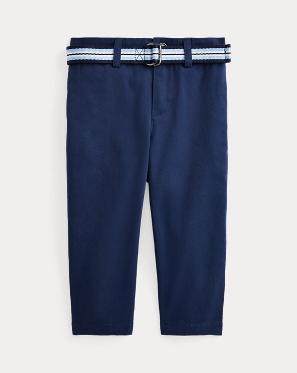Belted Stretch Cotton Chino Trouser