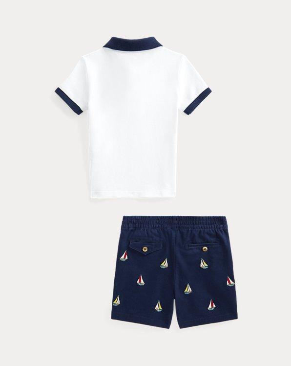 Polo Shirt & Embroidered Chino Short Set