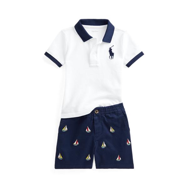 폴로 랄프로렌 베이비 아기옷 우주복 Polo Ralph Lauren Polo Shirt Embroidered Chino Short Set,White/Navy