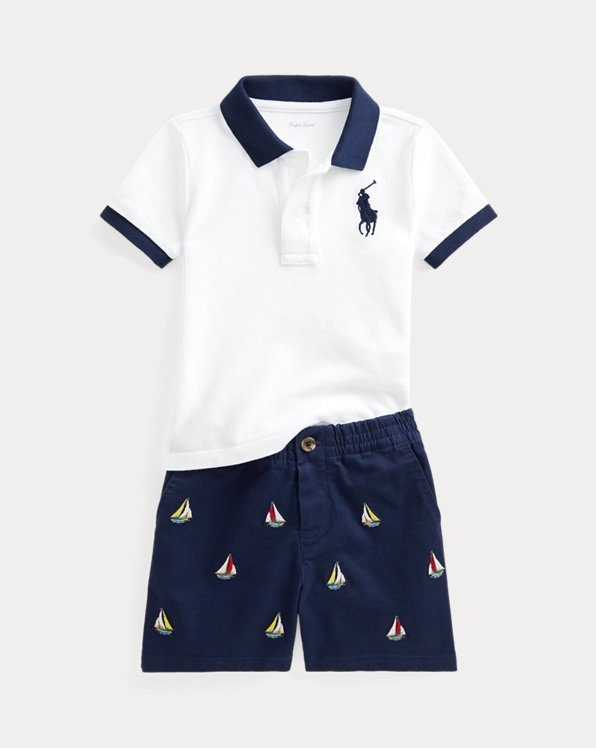 Polo Shirt & Embroidered Chino Short Set