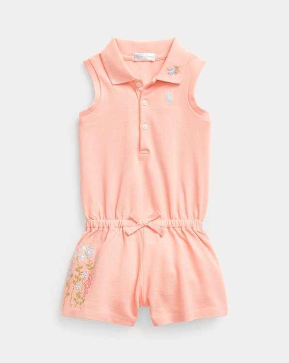 Embroidered Pique Polo Playsuit