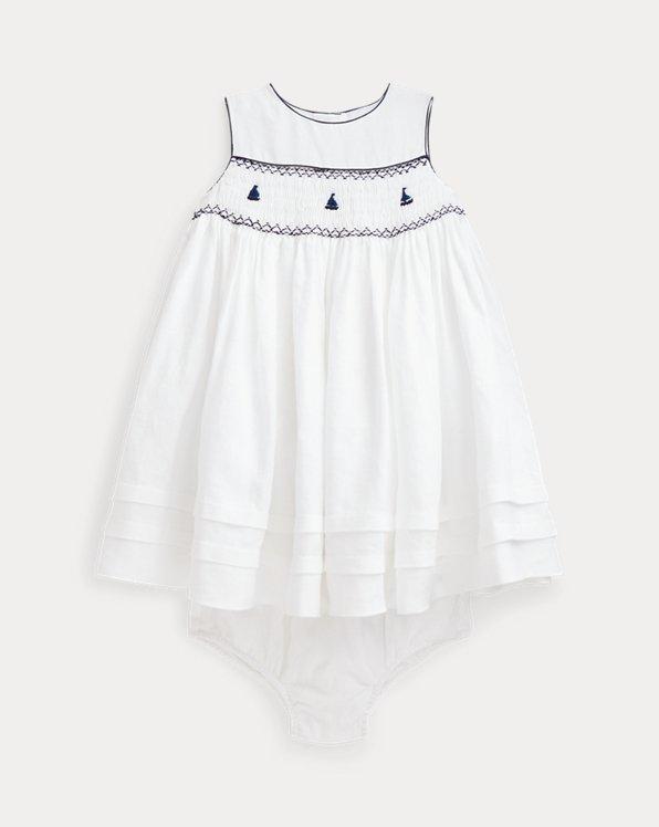 Smocked Linen Dress & Bloomer