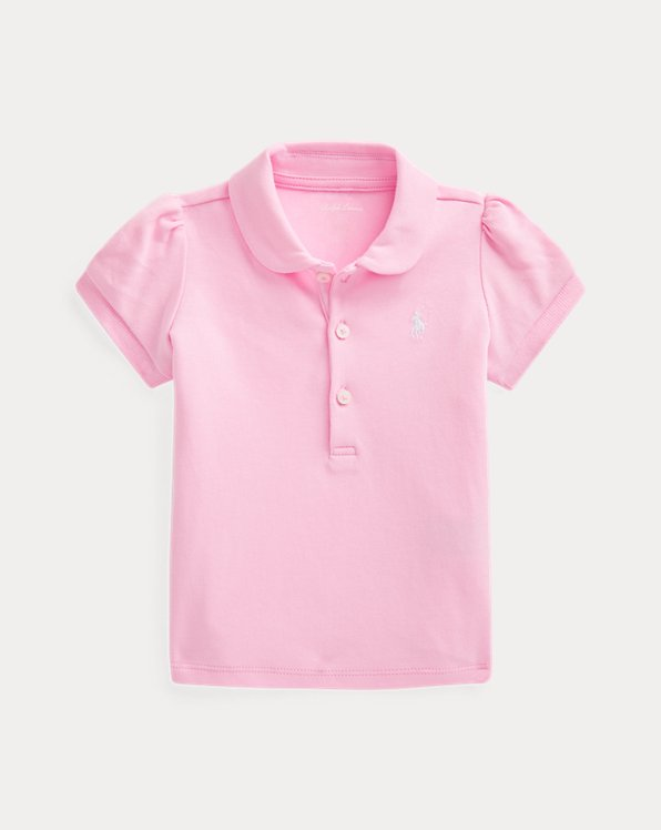 Puff-Sleeve Interlock Polo Shirt