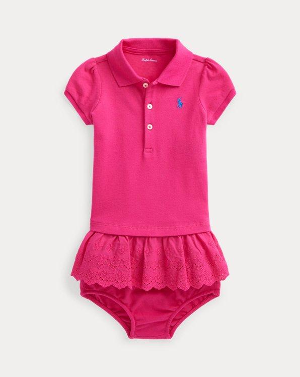 Eyelet-Skirt Polo Dress & Bloomer