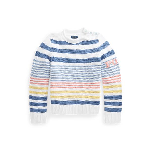 폴로 랄프로렌 걸즈 스트라이프 코튼 스웨터 Polo Ralph Lauren Striped Cotton Sweater,White Multi