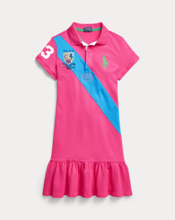 Banner-Stripe Cotton Mesh Polo Dress