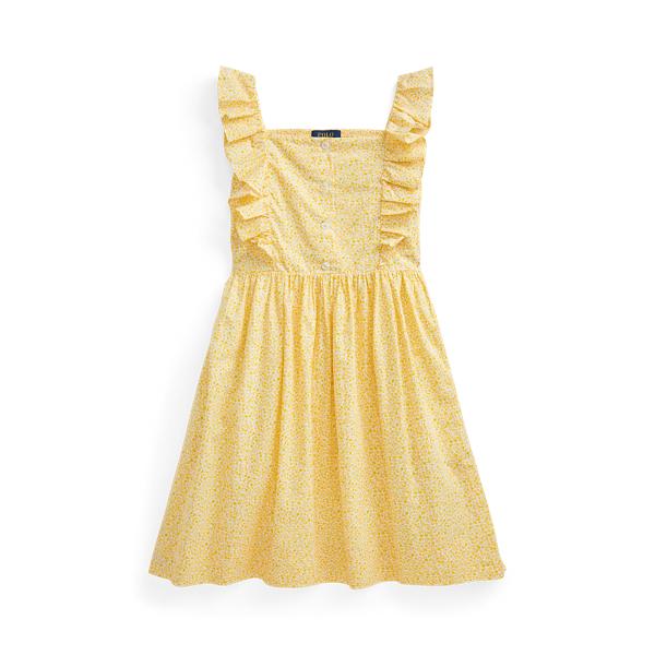 폴로 랄프로렌 Polo Ralph Lauren Floral Cotton Poplin Dress,Yellow Multi