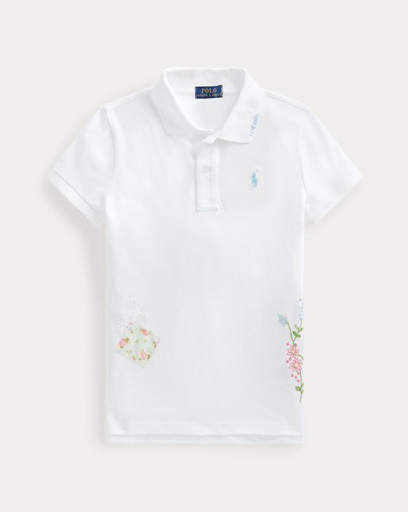 Floral Cotton Mesh Polo Shirt