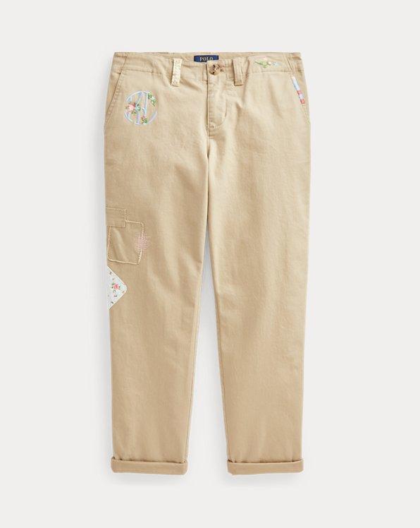 Pantaloni chino ricamati Straight-Fit