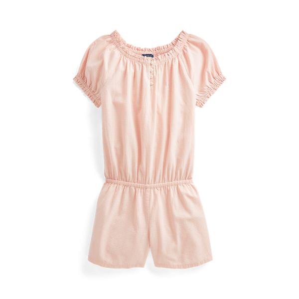 폴로 랄프로렌 Polo Ralph Lauren Gingham Linen Romper,Pink/Cream