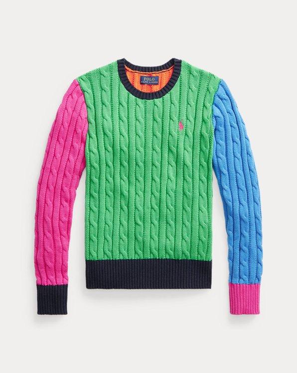 Colour-Blocked Cable-Knit Cotton Jumper