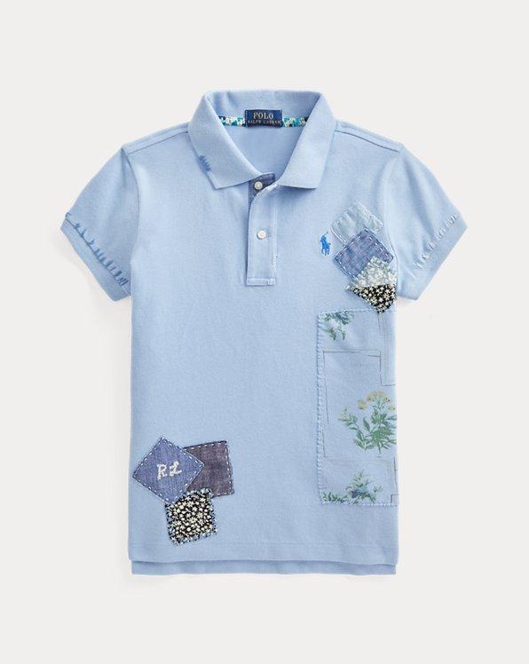 Patchwork-Polohemd aus Baumwollpiqué