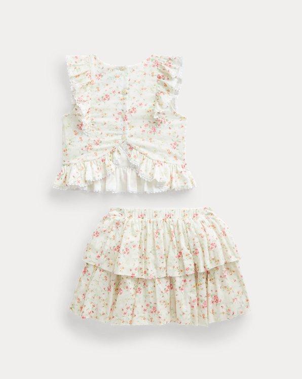 Floral Cotton Top & Skirt Set