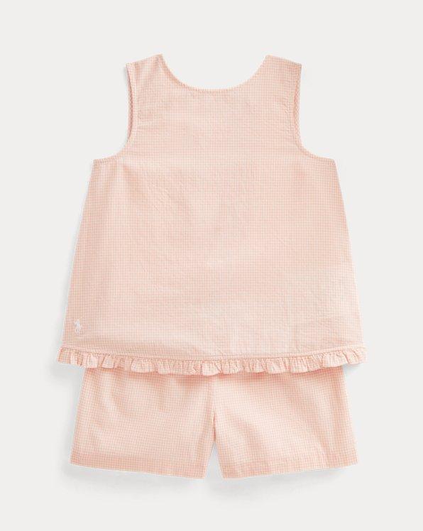 Gingham Linen Top & Short Set