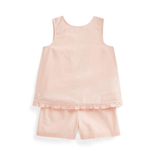 Polo Ralph Lauren Linens GINGHAM LINEN TOP & SHORT SET