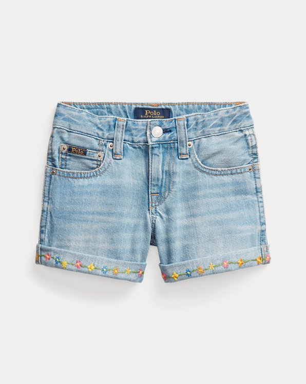 Floral Cotton Denim Short