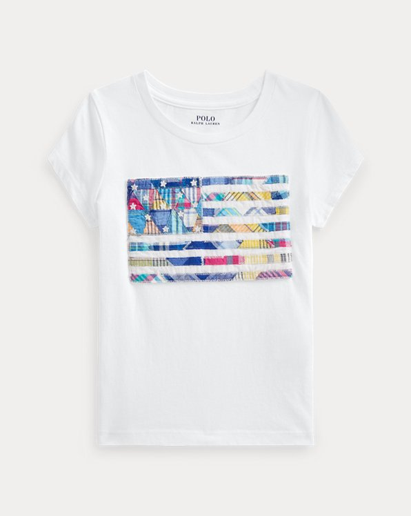 Jersey-T-Shirt mit Madras-Flaggenmotiv