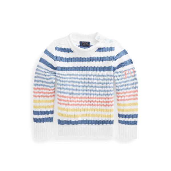 폴로 랄프로렌 여아용 스트라이프 코튼 스웨터 Polo Ralph Lauren Striped Cotton Sweater,White Multi
